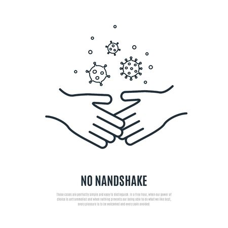No handshake line icon isolated on white background. Prevention of coronavirus. Stock vector illustration for web, mobile apps and print products. Vector Illustration