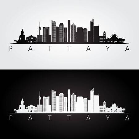 Pattaya skyline and landmarks silhouette, black and white design, vector illustration.