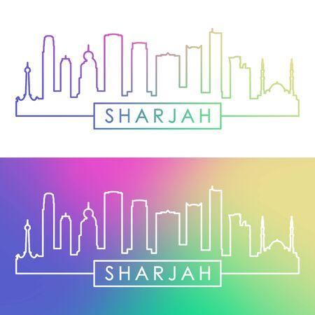Sharjah skyline. Colorful linear style. Editable vector file.