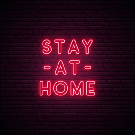 Stay at Home - quote for protection from coronavirus. Self isolation. Quarantine neon signboard. Vector design for social media and network.