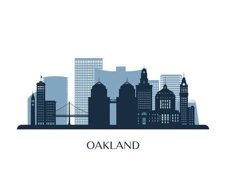 Oakland skyline, monochrome silhouette. Vector illustration. Vector Illustration