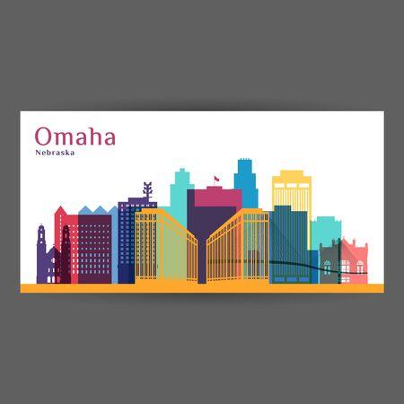 Omaha city, Nebraska architecture silhouette. Colorful skyline. City flat design. Vector business card.