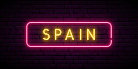 Spain neon sign. Bright light signboard. Vector banner. Ilustração