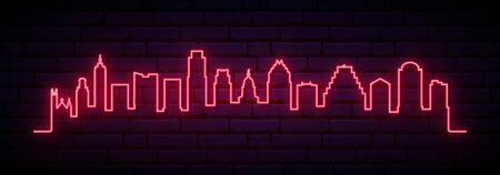 Red neon skyline of Austin city. Bright Austin long banner. Vector illustration.