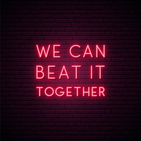 We can beat it together. Stay home campaign. Protect from Coronavirus. Neon Quarantine Coronavirus banner for social media. Stock Illustratie