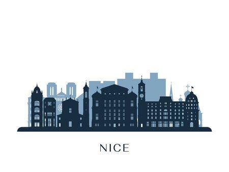 Nice skyline, monochrome silhouette. Vector illustration. Ilustración de vector