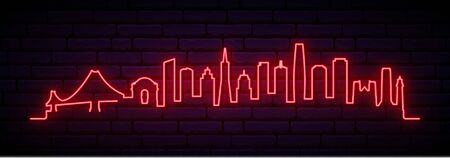 Red neon skyline of San Francisco city. Bright San Francisco long banner. Vector illustration.  イラスト・ベクター素材