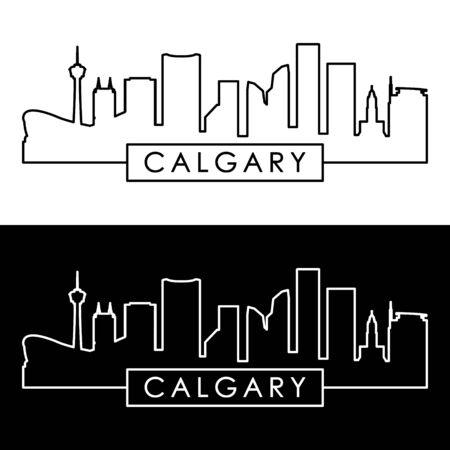 Calgary skyline. Linear style. Editable vector file.