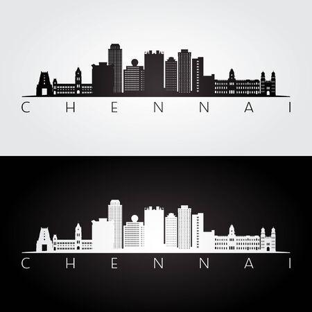 Chennai skyline and landmarks silhouette, black and white design, vector illustration.
