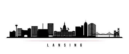 Lansing skyline horizontal banner. Black and white silhouette of Lansing, Michigan. Vector template for your design.
