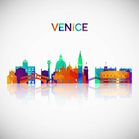 Venice skyline silhouette in colorful geometric style. Symbol for your design. Vector illustration. Vettoriali