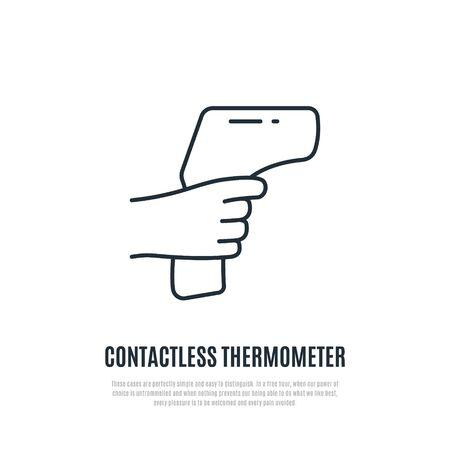 Symbol für die Fieberkontrolle. Körpertemperaturprüfung erforderlich Zeichen während des Covid-19-Ausbruchs. Berührungsloses Thermometer. Vektor-Illustration.