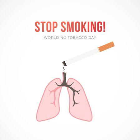 平面矢量插图与香烟和肺,停止吸烟的概念。世界无烟日标语。