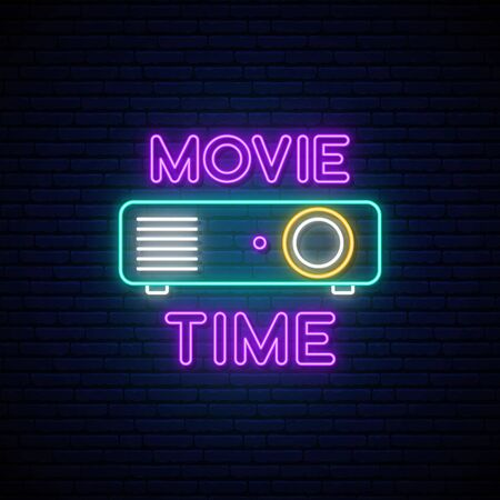 Cinema projection unit neon sign. Glowing neon projection machine on brick wall background with text Movie time. Vector illustration. Illustration
