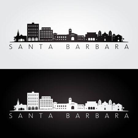 Silueta de horizonte y monumentos de Santa Bárbara, California, diseño en blanco y negro, ilustración vectorial.