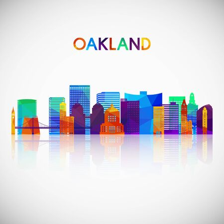 Oakland skyline silhouette in colorful geometric style. Symbol for your design. Vector illustration. Çizim