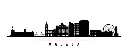 Malaga skyline horizontal banner. Black and white silhouette of Malaga, Spain. Vector template for your design.
