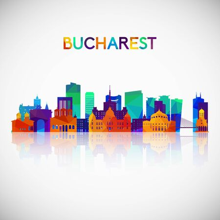 Bucharest skyline silhouette in colorful geometric style. Symbol for your design. Vector illustration. Ilustracja
