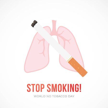 Flat vector illustration with cigarette and lungs, Stop smoking concept. Vector banner for World no tobacco day.