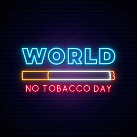 World no tobacco day neon signboard. Bright glowing cigarette icon on dark brick wall background. Stop smoking concept. Stock vector illustration. Zdjęcie Seryjne - 147822418