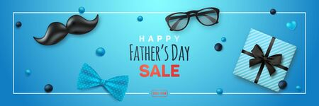 Happy Fathers Day Sale banner. Retro black mustache, bow tie, glasses and gift box on blue background. Vector design for websites, advertising banners, headers, etc. Ilustrace