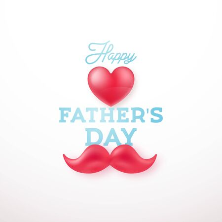 Happy father's day. Greeting card with heart and moustaches symbols. Vector design for Father Day celebration.