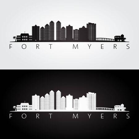 Fort Myers, Florida skyline and landmarks silhouette, black and white design, vector illustration.
