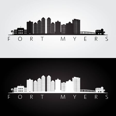 Fort Myers, Floride skyline et points de repère silhouette, design noir et blanc, illustration vectorielle. Vecteurs