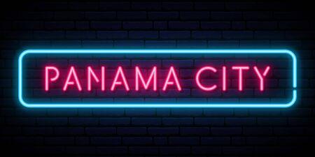 Panama City neon sign. Bright light signboard. Vector banner.