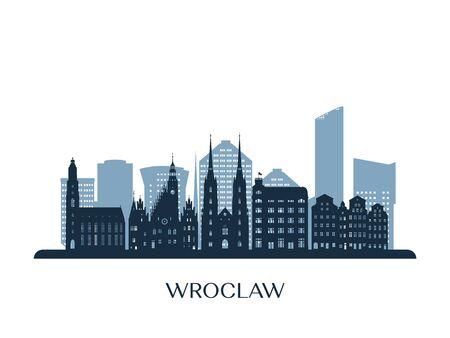 Wroclaw skyline, monochrome silhouette. Vector illustration.