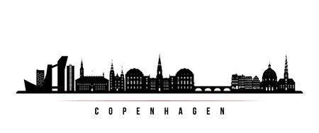 Copenhagen skyline horizontal banner. Black and white silhouette of Copenhagen, Denmark. Vector template for your design.
