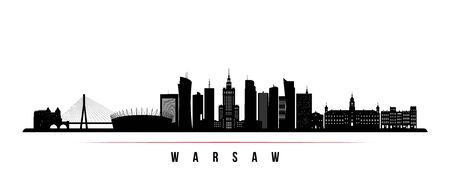 Warsaw skyline horizontal banner. Black and white silhouette of Warsaw, Poland. Vector template for your design.