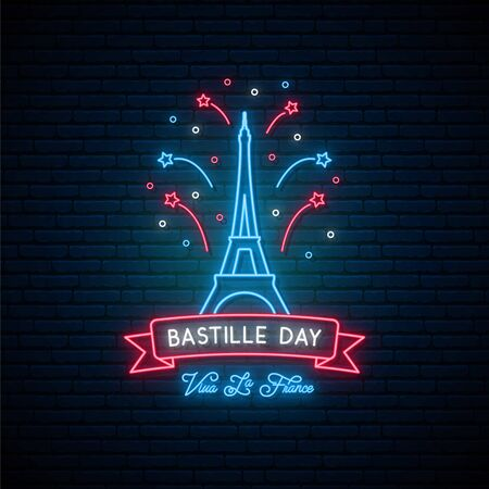 Happy Bastille Day, 14 July. Vive la France! Neon Eifel tower and salute. Bright banner for the French National Day in neon style. Vector illustration. 일러스트