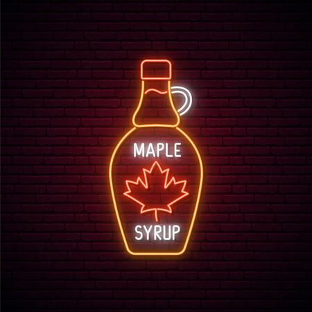 Neon Maple syrup bottle sign. Glowing neon Maple syrup emblem. Bright signboard, light banner. Vector illustration.