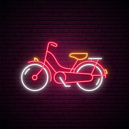 Neon bike sign. Glowing retro Bicycle emblem on brick wall background. Vector illustration in neon style. Çizim