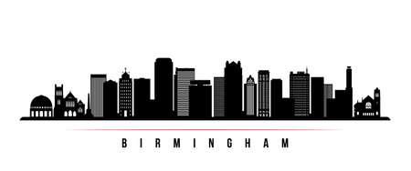 Birmingham skyline horizontal banner. Black and white silhouette of Birmingham, Alabama. Vector template for your design.