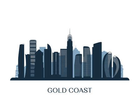 Gold Coast skyline, monochrome silhouette. Vector illustration.