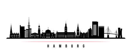 Hamburg skyline horizontal banner. Black and white silhouette of Hamburg, Germany. Vector template for your design. Illustration