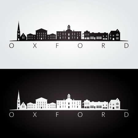 Oxford, Mississippi skyline and landmarks silhouette, black and white design, vector illustration.