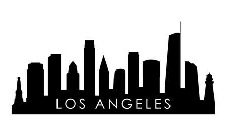 Los Angeles skyline silhouette. Black Los Angeles city design isolated on white background.