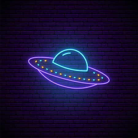 Neon UFO sign. Spaceship emblem. Bright glowing spacecraft icon on dark brick background. Vector illustration.