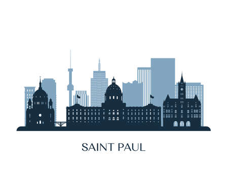 Saint Paul skyline, monochrome silhouette. Vector illustration.