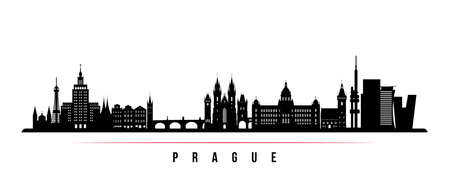 Prague skyline horizontal banner. Black and white silhouette of Prague, Czech Republic. Vector template for your design.