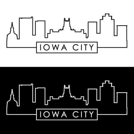 Iowa City skyline. Linear style. Editable vector file.