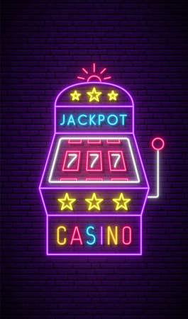 Slot machine neon sign. Bright neon signboard, light banner. Casino emblem. Vector illustration. Stock Illustratie