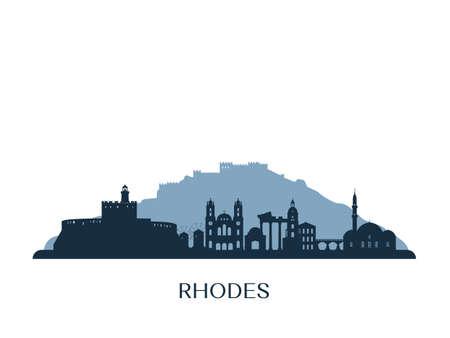 Rhodes skyline, monochrome silhouette. Vector illustration.