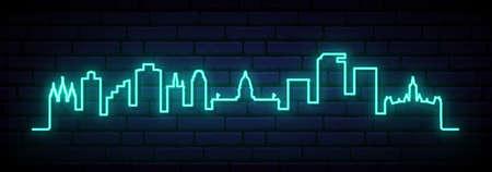 Blue neon skyline of Salt Lake City. Bright Salt Lake City long banner. Vector illustration.