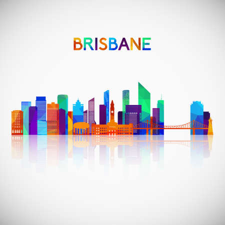 Brisbane skyline silhouette in colorful geometric style. Symbol for your design. Vector illustration.