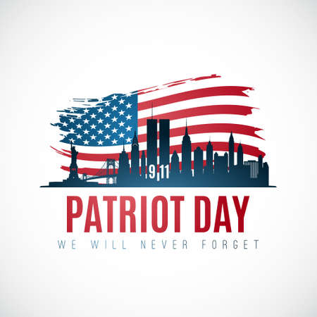 Patriot day banner with New York skyline, American flag and text We will never forget. September 11, 2001. Vector illustration. Vetores