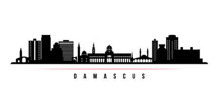 Damascus skyline horizontal banner. Black and white silhouette of Damascus, Syria. Vector template for your design. 矢量图像
